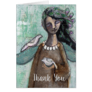Thank you Note with Angel, Hand Painted Card