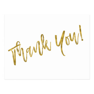 Thank You Note with Faux Gold Foil Postcard