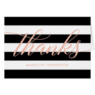 Thank You Notes   Black and White Stripes