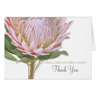 Thank You Notes Modern Floral Pink Protea Flower