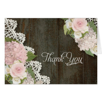 Thank You Notes Pink Hydrangeas Floral Dark Wooden