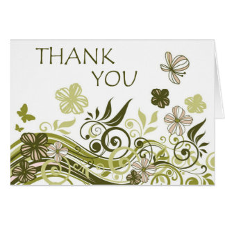 Thank You (Olive Green Floral) Card