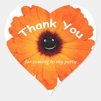 Thank You Orange Flower Heart Sticker