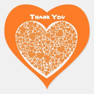 Thank You, orange hearts on white & orange Heart Sticker