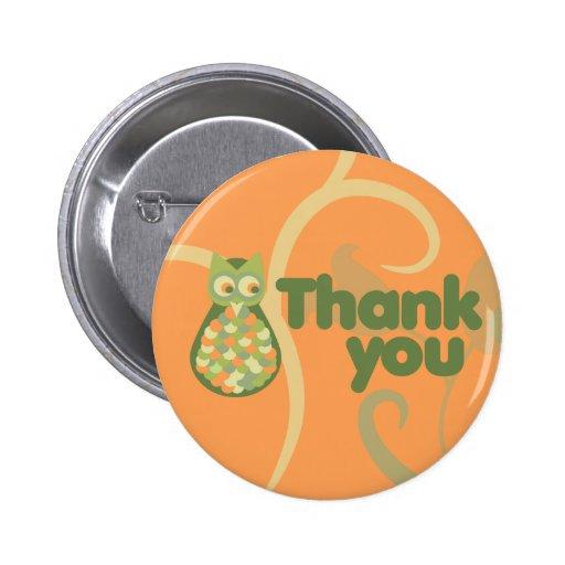 Thank You Owl Pinback Button