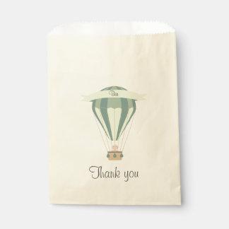 """thank you"" party favor blue hot air balloon favour bag"