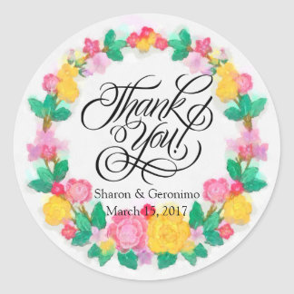 Thank You Party Favor Label Round Stickers