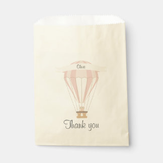 """thank you"" party favor pink hot air balloon favour bag"