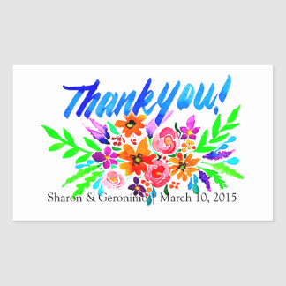 Thank You Party Favor Watercolor Brush Lettering Rectangle Stickers