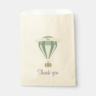 """thank you"" party favour blue hot air balloon favour bag"