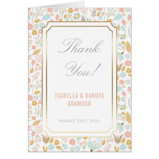 Thank You | Pastel Floral Background with Gold Card
