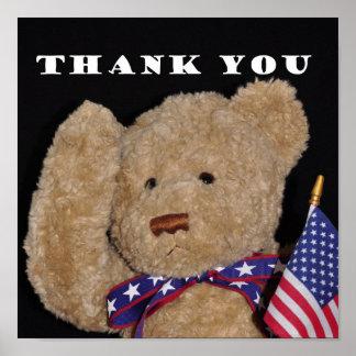 Thank You Patriotic Teddy bear poster