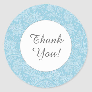Thank you peacock blue damask round favor stickers