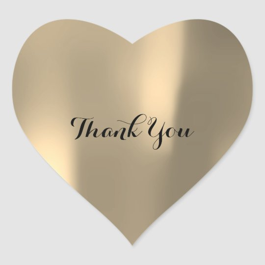 Thank You Pearly Foxier Gold Ombre Grey Heart Sticker