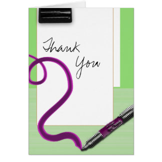 Thank you pen pink green school stationery note card
