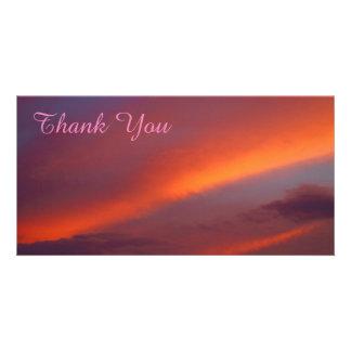 Thank You photo card - Pink cloud sunset
