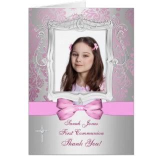Thank You photo girl Communion Card