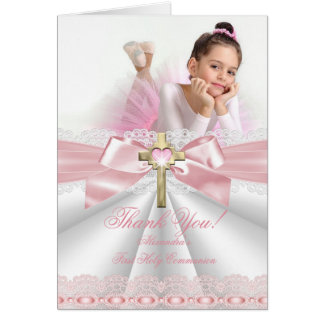 Thank You photo girl First Communion Card