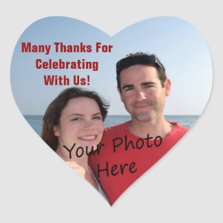 Thank You Photo Heart Stickers