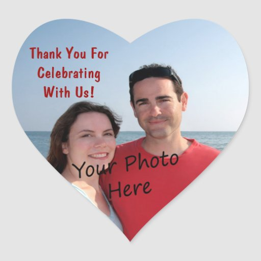 Thank You! Photo Heart Stickers