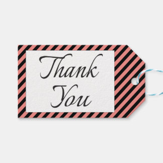 Thank You Pink And Black Stripe Wedding Party Pack Of Gift Tags