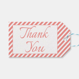 Thank You Pink And White Stripe Wedding / Party Pack Of Gift Tags
