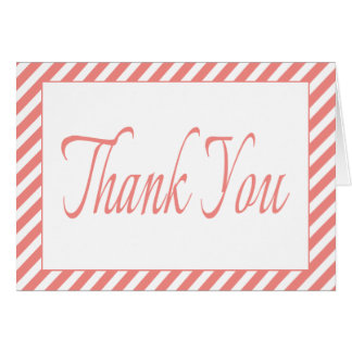 Thank You Pink And White Stripes Wedding / Party Note Card