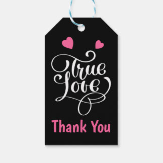Thank You Pink & Black True Love Hearts Wedding Gift Tags