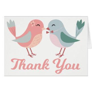 Thank You Pink Blue Lovebird Wedding Bridal Shower Card