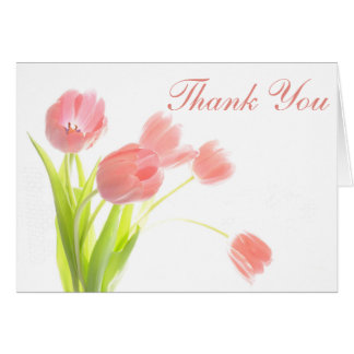 Thank You Pink Day Tulips Floral Notecard - Blank