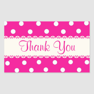 Thank You Pink Fuschia & White Polka Dot Sticker