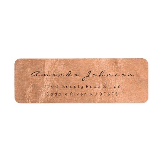 Thank You Pink Gold Foil Brush Glam Address Return Address Label