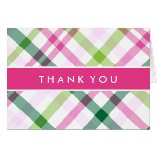 Thank You | Pink & Green Plaid Card