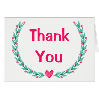 Thank You Pink & Green Watercolor Floral Wreath Card