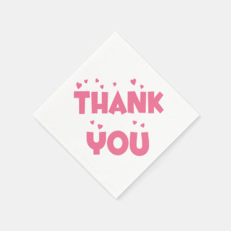 Thank You Pink Hearts Party Napkins Paper Napkins