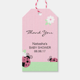 Thank You Pink Ladybug Green Mint Lime Baby Shower Pack Of Gift Tags