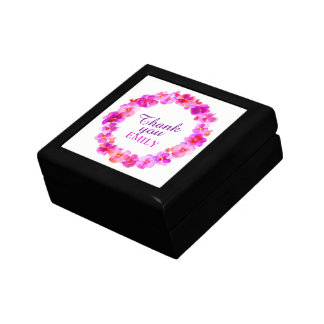 Thank you pink pansies wreath art gift box
