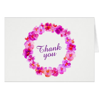 Thank you pink pansy wreath art card