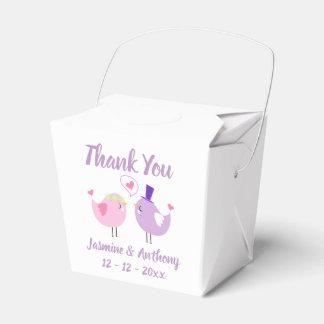 Thank You Pink Purple Lovebirds Wedding, Bridal Favor Box