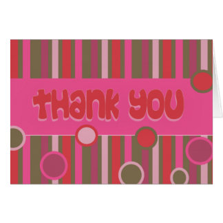 thank you pink red greeting card