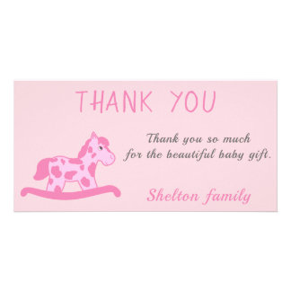 Thank you Pink Rocking Horse Baby Girl Shower Card