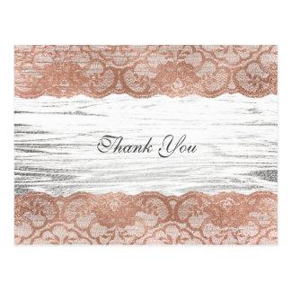 Thank you Pink Rose Gold Powder Lace Postcard