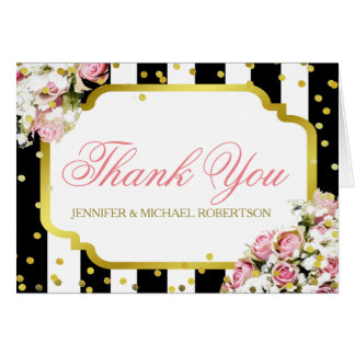 Thank You Pink Roses and Stripes Note Card