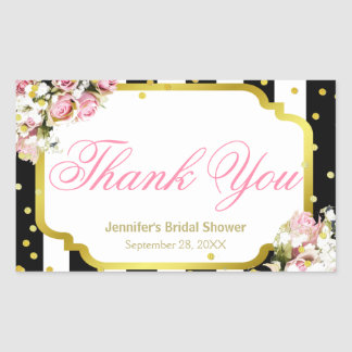 Thank You - Pink Roses, Stripes and Confetti
