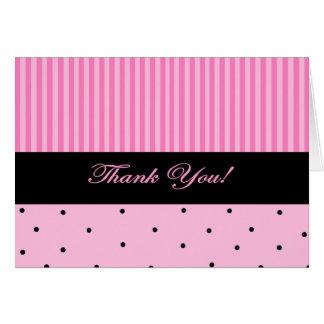 Thank You Pink Stripe Greeting Card