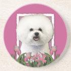 Thank You - Pink Tulips - Bichon Frise Coaster