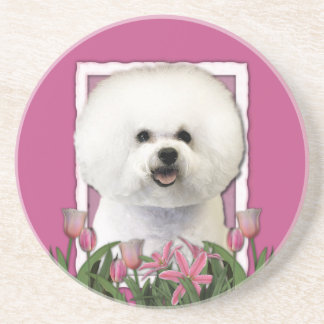 Thank You - Pink Tulips - Bichon Frise Coaster