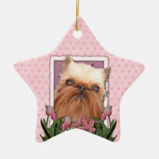 Thank You - Pink Tulips - Brussels Griffon Ceramic Ornament