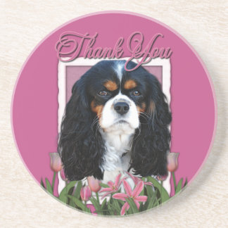 Thank You - Pink Tulips - Cavalier - Tri-Color Coaster