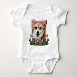 Thank You - Pink Tulips - Corgi - Owen Baby Bodysuit